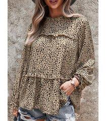 camicetta donna allentata fungo o-collo manica lunga stampa leopardo