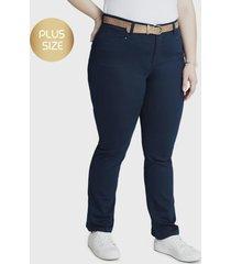 jeans recto con cinturon azul curvi