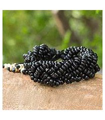coconut shell braided bracelet, 'black forest' (thailand)
