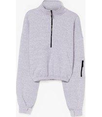 womens zips time for change high neck sweatshirt - grey