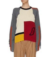 colourblock panelled slit sleeve sweater