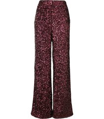 victoria victoria beckham all over sequin wide leg trousers - red