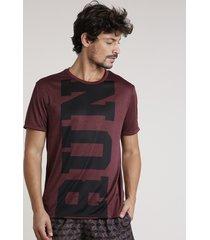 "camiseta masculina esportiva ace ""run"" manga curta gola careca vinho"