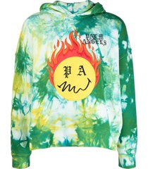 tie dye burning head hoodie, forest green