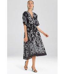 natori floral embroidery caftan dress, women's, black, cotton, size m natori