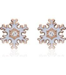 orecchini a lobo in acciaio rosato con fiocco di neve per donna