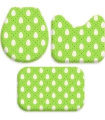 jogo tapetes love decor para banheiro ovos de páscoa verde único - kanui