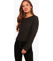 petite roll hem cropped sweater, charcoal