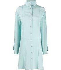 lemaire high collar silk dress - 713 cloud blue