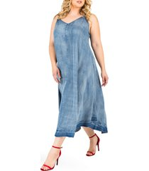 plus size women's standards & practices taylor tank denim midi dress, size 3x - blue
