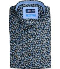 bos bright blue willem casual shirt long slee 19307wi39bo/290 navy