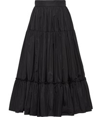 prada full tiered midi skirt - black