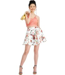 city studios juniors' 2-pc. glitter lace & floral-print dress