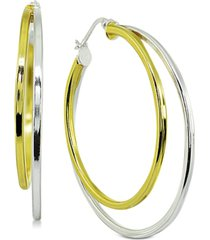"""giani bernini medium two-tone double hoop earrings in sterling silver & 18k gold-plated sterling silver, 1.5"""", created for macy's"""