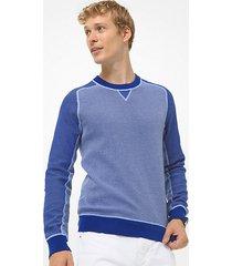 mk pullover in cotone color block con maniche raglan - twilight blue - michael kors
