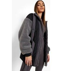 gewatteerde pluizige jas met stiksels en panelen, charcoal