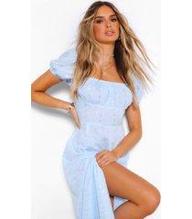 broderie puff sleeve slit maxi dress, light blue