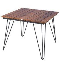 mesa de madeira quadrada tramontina 14527051 tarsila teca marrom