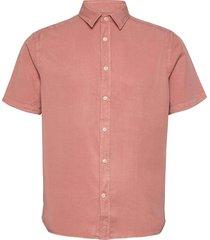 comfort tencel ss reg shirt overhemd met korte mouwen roze j. lindeberg