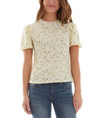 bcx juniors' floral puff short sleeve top