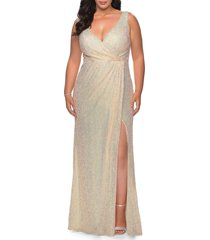 plus size women's la femme sequin faux wrap gown, size 22w - metallic