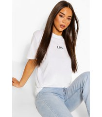 london micro print oversized t-shirt, white