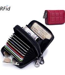 rfid donna vera pelle portafoglio con 10 cerniere portafoglio doppio portamonete
