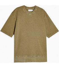 mens washed khaki short sleeve sweatshirt