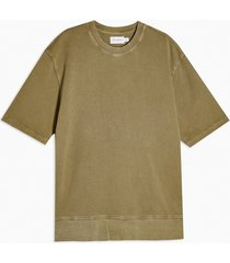 mens washed khaki short sleeve sweatshirt
