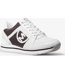 mk sneaker billie in pelle con logo - bianco ottico/marrone (marrone) - michael kors