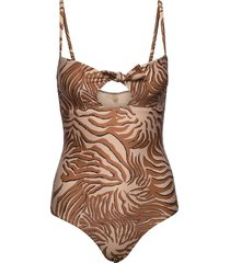 printed swimsuit with bow in econyl™ quality baddräkt badkläder brun scotch & soda