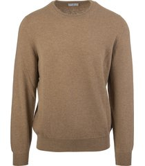 man round neck pullover in white cashmere