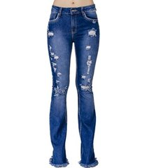 calça jeans flare destroyed handbook feminina