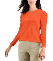 charter club supima cotton shirred-sleeve top, created for macy's