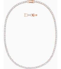 collana tennis deluxe, bianco, placcato oro rosa