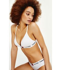 tommy hilfiger women's organic cotton logo padded triangle bralette classic white - xs