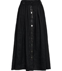 light linen rok knielengte zwart ganni