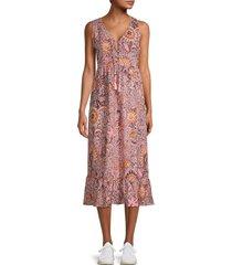 madewell women's floral midi dress - block print - size 0