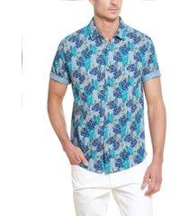 men's floral printed camp shirt