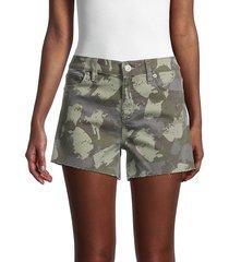 hudson women's gracie mid-rise camo-print shorts - green camo - size 30 (8-10)
