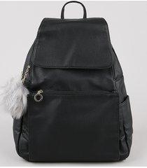 mochila feminina com bolso e pompom preta