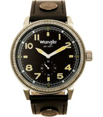 wrangler men's watch, 48.5mm ip gun metal case with milled bezel, grey sand satin dial with white arabic numerals, grey strap with logo rivet and white accent stitching