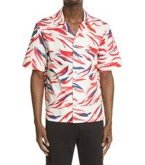 men's moncler print short sleeve snap-up shirt, size xx-large - red