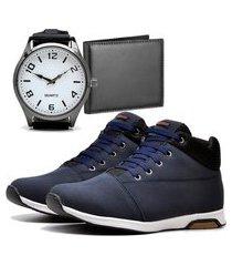 sapatênis urbano com carteira e relógio new dubuy 1101db azul