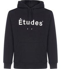 études klein logo cotton hoodie