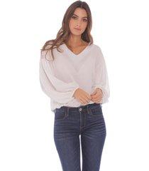 blusa blanca manga larga para mujer  x49576