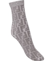 fendi fendi prints on monogram socks - grey