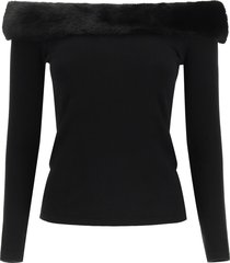 blumarine sweater with mink fur