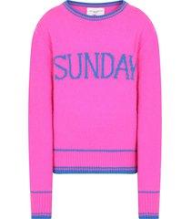 alberta ferretti fucshia sweater for girl with blue writing