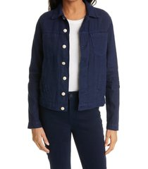 women's l'agence celine slim linen jacket, size x-small - blue